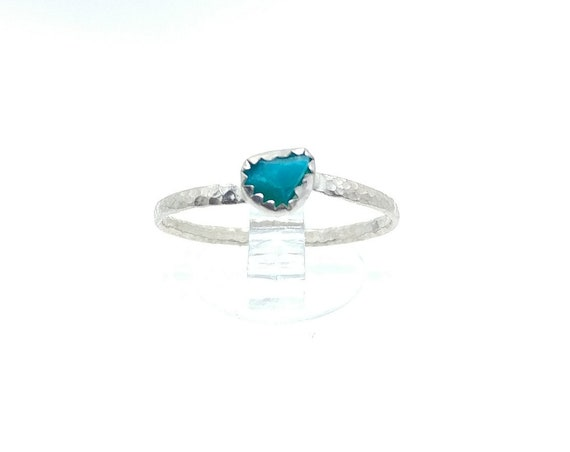 Raw Turquoise Blue Chrysocolla Stone Ring in Sterling Silver Sz 8.5 Great as a Solitare or Stacking