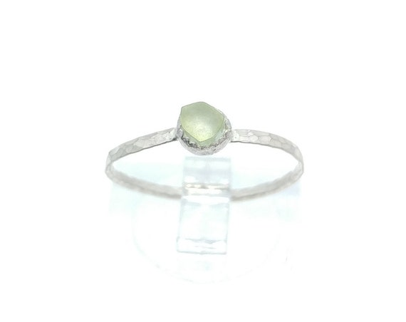 Natural Green Tourmaline Stacking Ring in Sterling Silver Sz 7