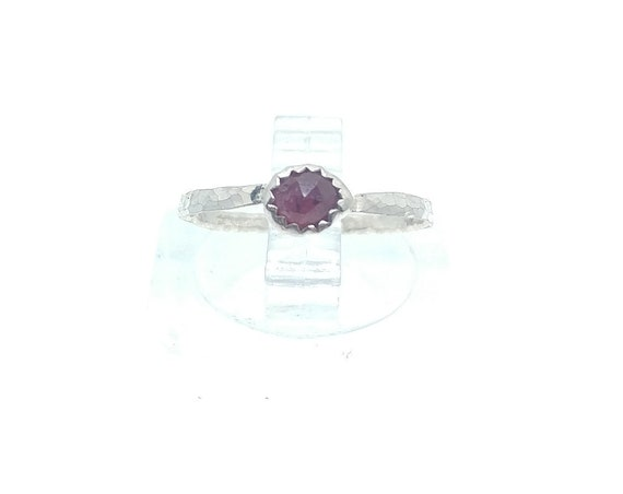 Simple Red Rose Cut UV Reactive Ruby Ring in Sterling Silver Sz 4.25 a July Birthstone Ring