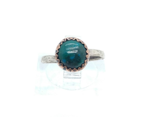 Natural Green Chrysocolla Round Stone Ring in Mixed Metal Copper Sterling Silver Band Sz 5.25 Clearance