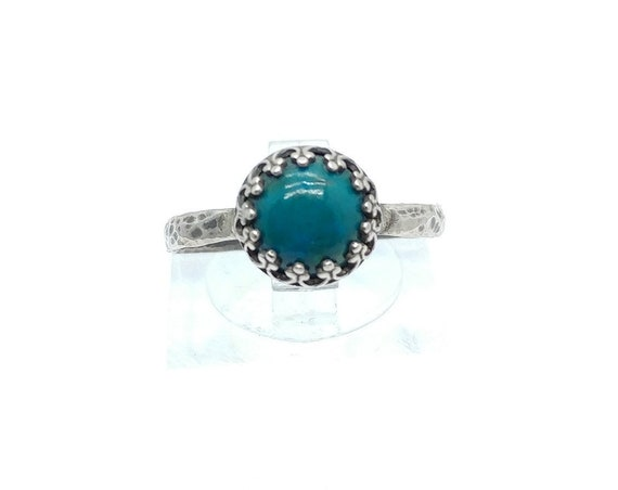 Victorian Round Ocean Blue Chrysocolla Stone Ring in Brass with Hammered Sterling Silver Band Sz 7.75 Clearance