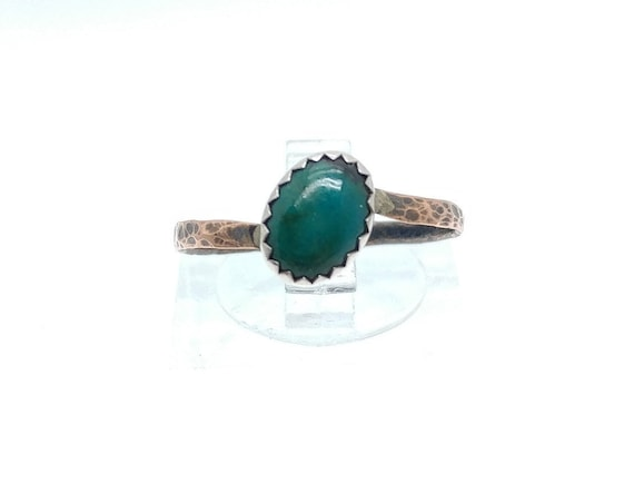 Natural Green Chrysocolla Oval Stone Ring in Mixed Metal Sterling Silver with Copper Band Sz 7.5 Clearance