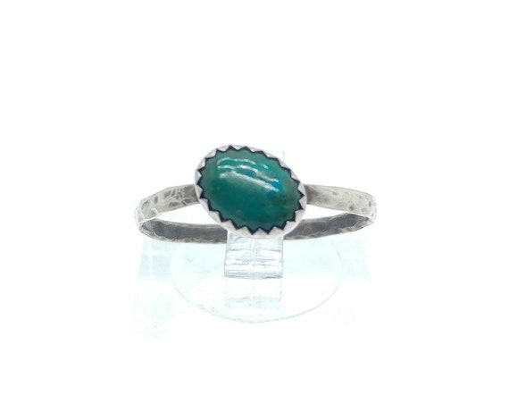 Oval Ocean Blue Green Chrysocolla Gemstone Ring in Hammered Sterling Silver Sz 8 Clearance