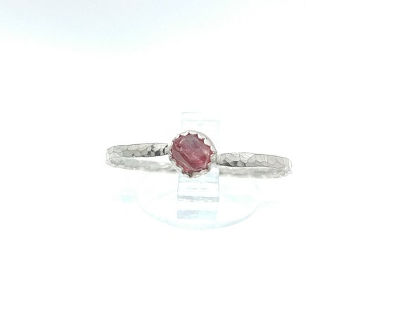 Hot Pink Spinel Crystal Stone Stacking Ring in Sterling Silver Sz 9.75