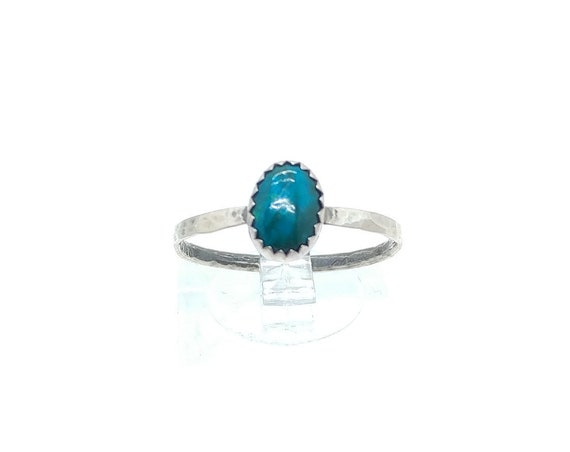 Oval Ocean Blue Green Chrysocolla Gemstone Ring in Hammered Sterling Silver Sz 9 Clearance