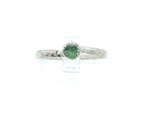 Natural Green Tourmaline Crystal Ring in Sterling Silver Ring Sz 8