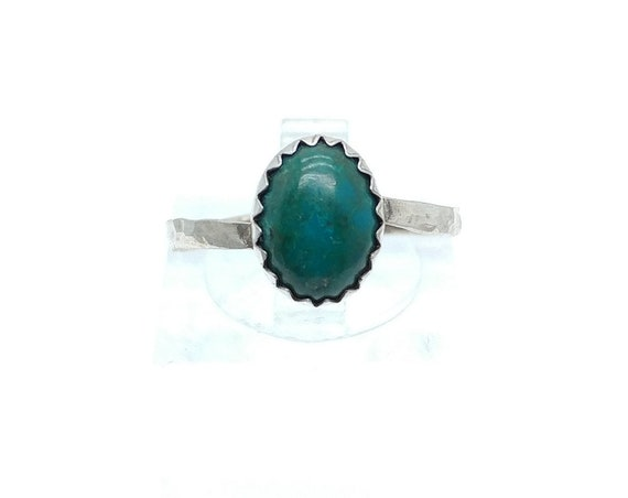 Simple Blue Green Chrysocolla Stone Ring in Hammered Sterling Silver Sz 7.25 Perfect Ring for a Mermaid Clearance
