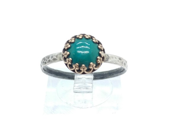 Victorian Ocean Blue Chrysocolla Stone Ring in Brass with Hammered Sterling Silver Band Sz 9.5 Clearance
