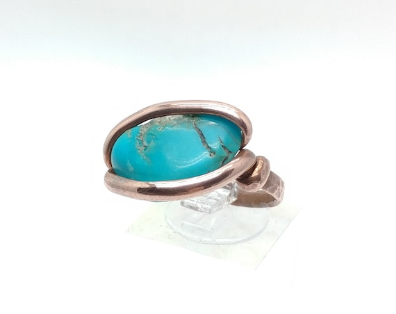 Real Blue Turquoise Stone Ring in Hammered Copper Sz 9 One of Our Best Selling Items