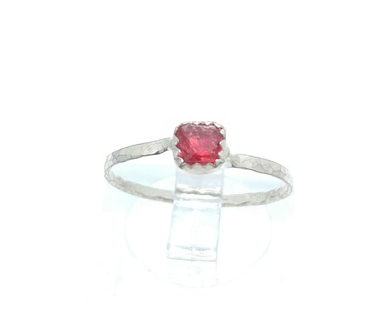 Hot Pink Spinel Crystal Stone Ring in Sterling Silver Sz 6