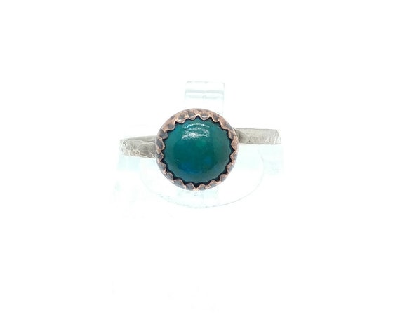 Natural Green Chrysocolla Round Stone Ring in Mixed Metal Copper Sterling Silver Band Sz 6.5 Clearance