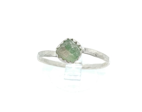 Watermelon Tourmaline Ring | Sterling Silver Ring Sz 9 | Raw Tourmaline Ring | Raw Crystal Ring | Uncut Gemstone Ring | Pink Crystal Ring