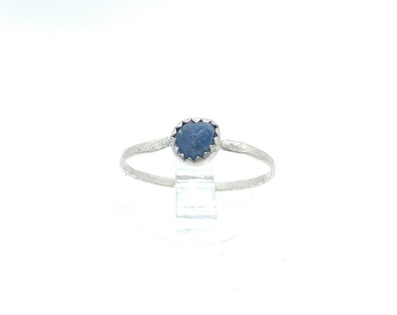 Blue Sapphire Stacking Ring | Sterling Silver Ring Sz 6.5 | Raw Sapphire Ring | September Birthstone Ring | Raw Blue Sapphire Stacker Ring