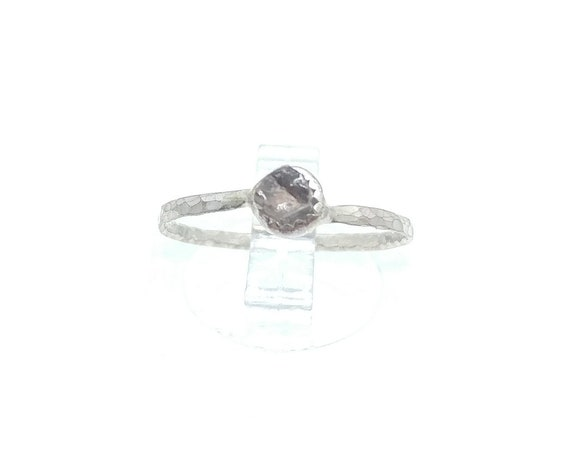 Natural Pink Tourmaline Crystal Stacking Ring in Sterling Silver Sz 5.5