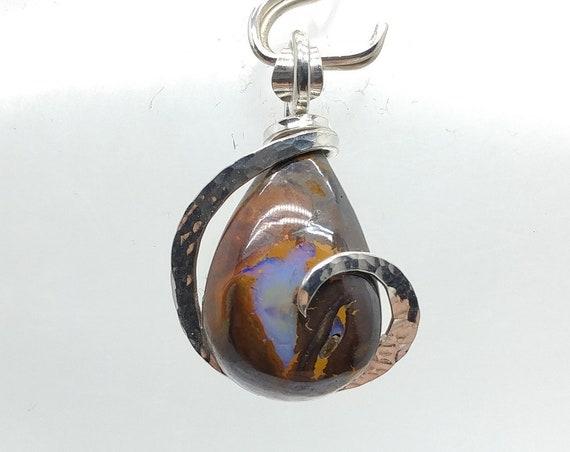 Boulder Opal Pendant | Australian Opal Pendant | Sterling Silver Pendant | October Birthstone Pendant | Koroit Opal Jewelry