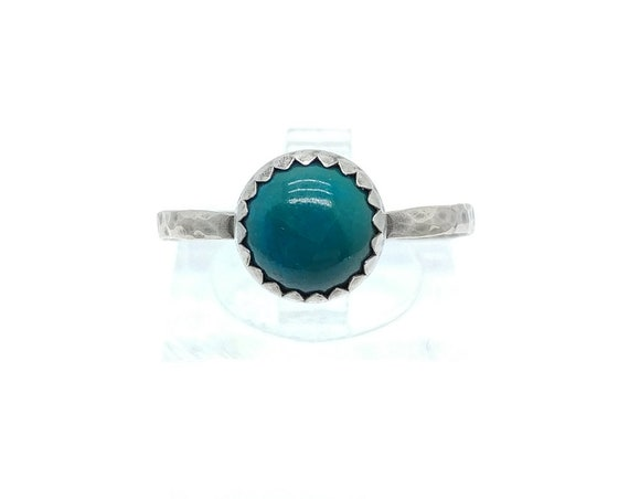 Round Ocean Blue Chrysocolla Stone Ring in Sterling Silver Ring Sz 9 a Handmade Gift for Her Clearance