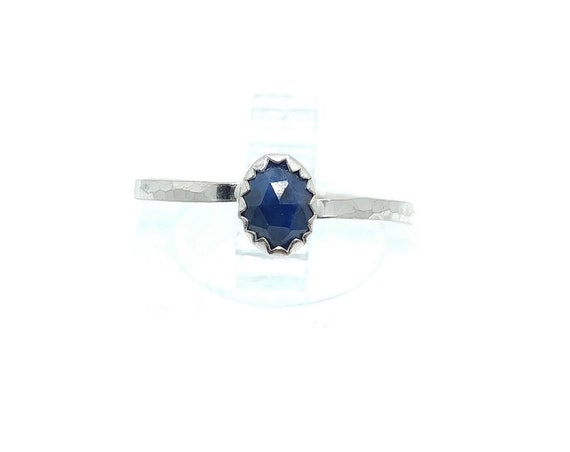 Rose Cut Blue Sapphire Ring | Sterling Silver Ring Sz 6.75 | Rose Cut Sapphire Ring | September Birthstone Ring | Royal Blue Stone Ring