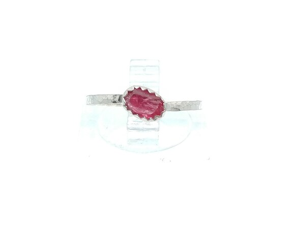 Hot Pink Spinel Ring | Sterling Silver Ring Sz 5.5 | Raw Spinel Ring | Spinel Stacking Ring | Stackable Ring | Stacker Ring | UV Reactive