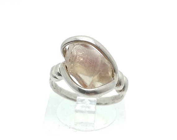 Raw Pink Oregon Sunstone Crystal Ring in Sterling Silver Sz 5 with Copper Schiller Found Only in Oregon a Great Valentines Day Gift