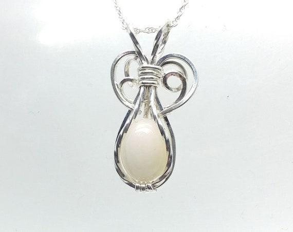 Elven Opal Pendant   Welo Ethiopian Precious Opal Pendant Necklace   Wire Wrapped Sterling Silver   Potion Bottle Pendant   White Opal