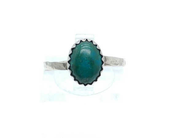 Oval Ocean Blue Green Chrysocolla Gemstone Ring in Hammered Sterling Silver Sz 7 Clearance
