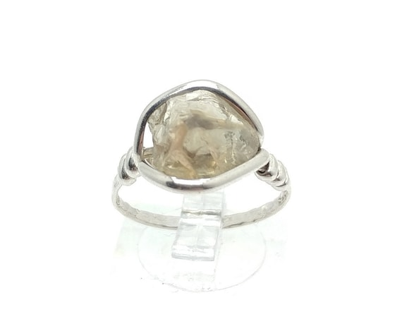 Raw Dicrotic Pink and Green Oregon Sunstone Crystal Ring in Sterling Silver Sz 7.25 Found Only in Oregon a Color Change Stone