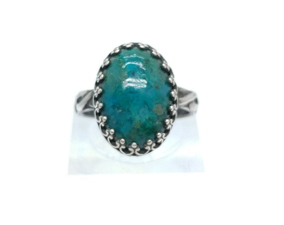 Victorian Ocean Blue Chrysocolla Stone Ring in Hammered Sterling Silver Band Sz 5 Clearance