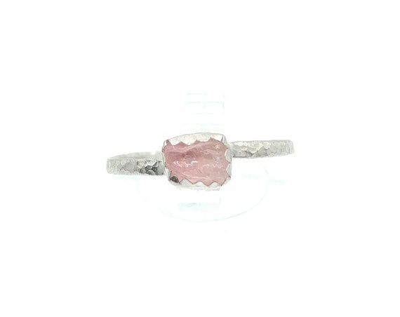 Raw Pink Tourmaline Crystal Ring in Sterling Silver Sz 8.5