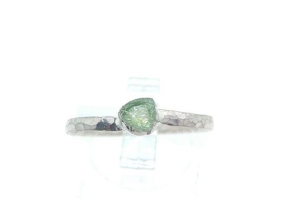 Natural Green Tourmaline Ring | Sterling Silver Ring Sz 5.5  | Raw Green Tourmaline Ring | Raw Crystal Ring | Uncut Gemstone Ring