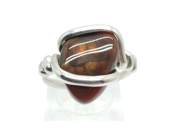 Iridescent Orange and Green Mexican Fire Agate Ring in Sterling Silver Sz 8.5 A Rare Gemstone Mined in Mexico