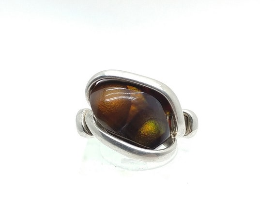 Orange and Green Iridescent Fire Agate Ring in Hammered Sterling Silver Sz 7 a Rare Gemstone Mined in Mexico
