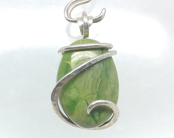 Chrome Green Gaspite Stone Pendant | Sterling Silver Pendant Necklace for Girlfriend | Simple Green Oval Stone Jewelry