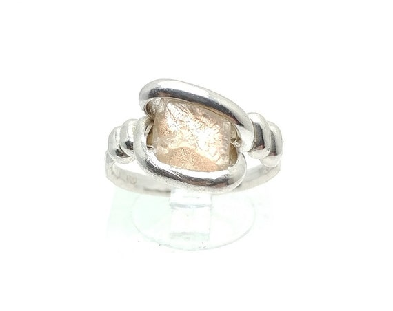 Raw Pink Oregon Sunstone Crystal Ring in Sterling Silver Sz 7 with Copper Schiller Found Only in Oregon a Great Valentines Day Gift