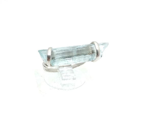 Raw Uncut Aquamarine Crystal Stone Ring in Hammered Sterling Silver Sz 4.5 Great Midi or Knuckle Ring