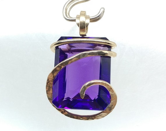 Large Faceted Emerald Cut Purple Amethyst Crystal Pendant Necklace in 14kt Yellow Gold Fill Gift for Wife or Girlfriends Febuary Birthday