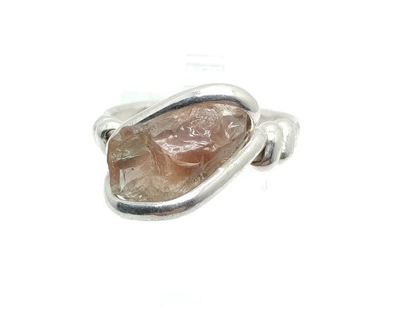 Raw Dicrotic Pink and Green Oregon Sunstone Crystal Ring in Sterling Silver Sz 8.75 Found Only in Oregon a Color Change Stone