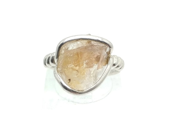 Raw Pink Oregon Sunstone Crystal Ring in Sterling Silver Sz 5.5 with Copper Schiller Found Only in Oregon a Great Valentines Day Gift