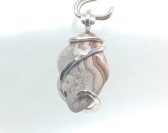 Pink Crazy Lace Agate Pendant Necklace | Laughter Stone Pendant | Drop Pendant | Sterling Silver Jewelry | Semiprecious Gemstone Pendant