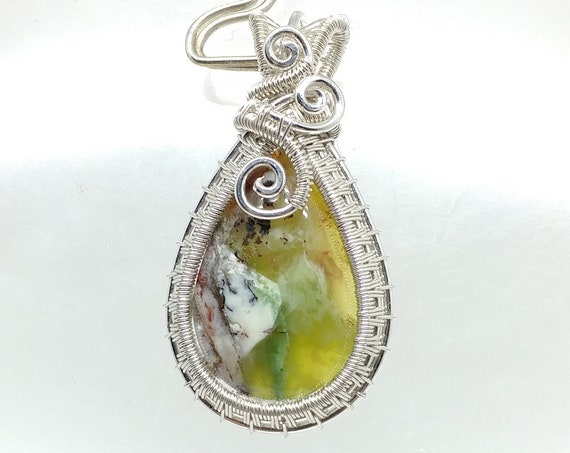 Bright Green Rosella Opalite Stone Teardrop Wrapped in Shiny Sterling Silver Wire, Mined in Australia in Very Limited Quantity