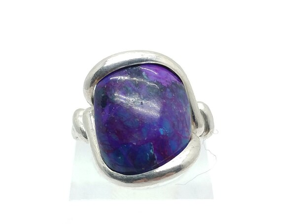 Mojave Purple Turquoise Ring | Sterling Silver Ring Sz 6.75 | Simple Purple Stone Ring | Gift for Mom | December Birthstone