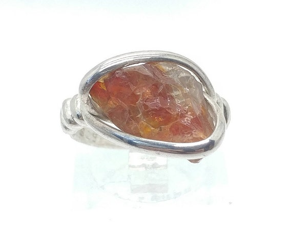 Raw Crystal Ring | Raw Oregon Sunstone Ring | Sterling Silver Ring Sz 5 | Red Oregon Sunstone Ring | Oregon Sunstone Jewelry | Raw Sunstone
