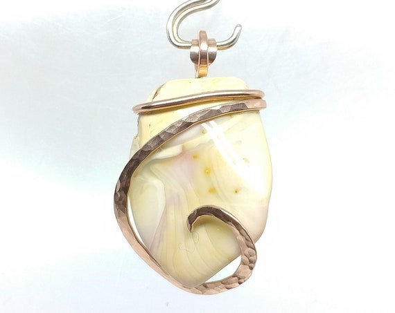 Pastel Yellow & Pink Willow Creek Jasper Stone Pendant Necklace in Hammered 14kt Rose Gold Fill, Mined from GIANT Thundereggs in Idaho