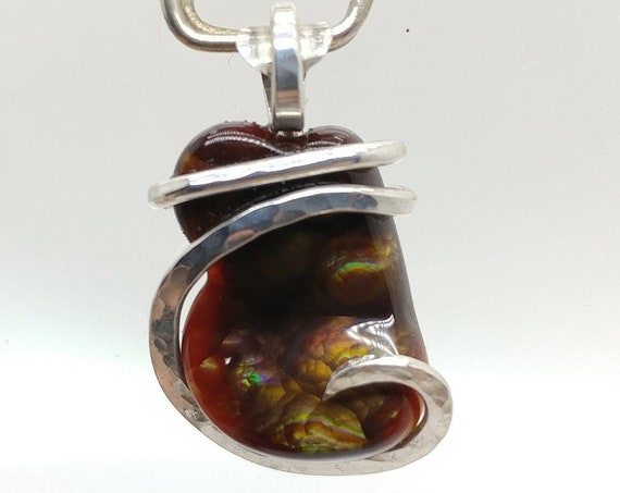 Rare AAA Mexican Fire Agate Gemstone Necklace in Hammered Sterling Silver an Iridescent Stone Pendant