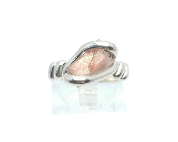 Oregon Sunstone Ring | Raw Crystal Ring | Raw Sunstone Ring | Sterling Silver Ring Sz 6.25 | Pink Crystal Ring | Raw Stone Ring