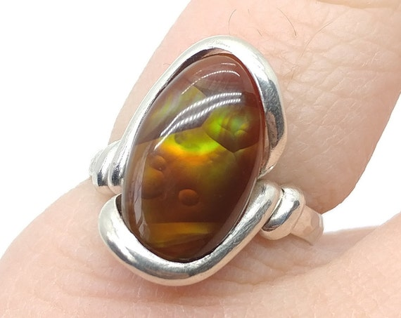 Mexican Fire Agate Ring | Sterling Silver Ring Sz 6.75 | Fire Agate Jewelry | Rare Gemstone Ring | Gift for a Active Mom | Gift for Her