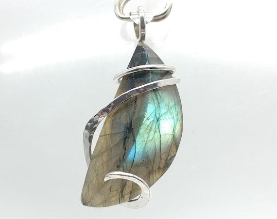 Half Moon Blue Green Flash Labradorite Pendant | Sterling Silver Necklace | Celestial Pendant | Labradorite Necklace for Woman