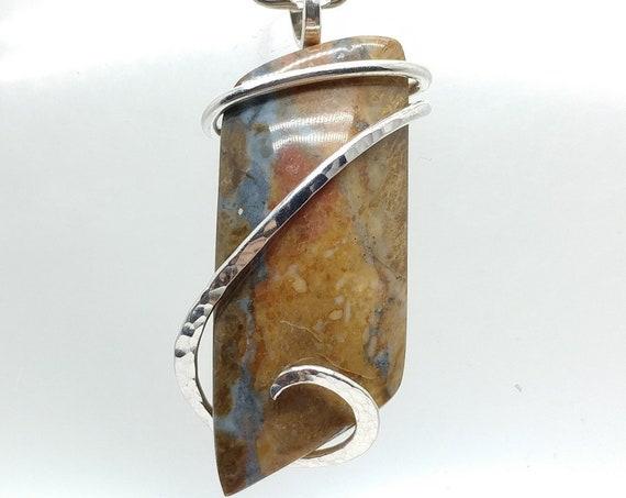 Jammie Pants Jasper Pendant | Picture Jasper Necklace | Sterling Silver Pendant | Rare Stone Pendant | Owyhee Oregon Jasper Pendant