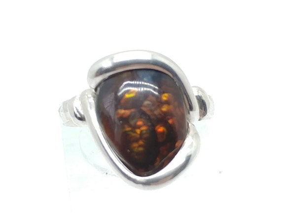 Red Stone Ring   Mexican Fire Agate Ring   Sterling Silver Ring Sz 6   Fire Agate Jewelry   Rare Gemstone Ring   Gift for Girlfriend