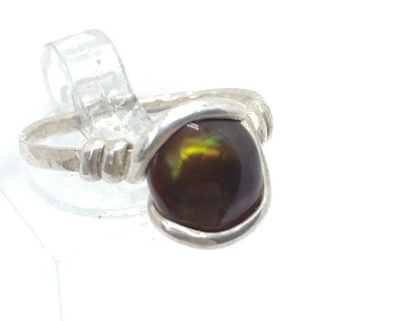 Handmade Rare Stone Ring | Green Stone Ring | Mexican Fire Agate Ring | Sterling Silver Ring Sz 7.25 | Fire Agate Jewelry | Handmade Ring