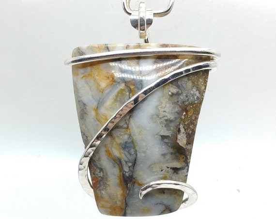 Widowmaker Blue Plume Agate Stone Pendant Necklace in Hammered Sterling Silver One of Our Best Selling Items